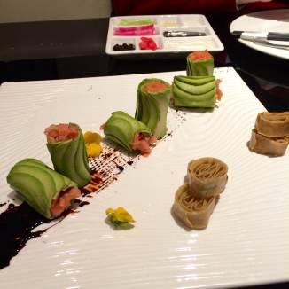 Smoked salmon-avocado rolls