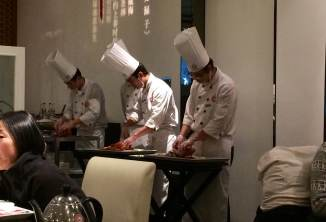 The chefs hard at work on our duck!