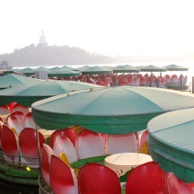 Lotus flower boats at Behai Park.