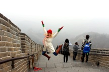 An awkward attempt at a jumping picture. Look at me, I'm on the Great Wall of China!