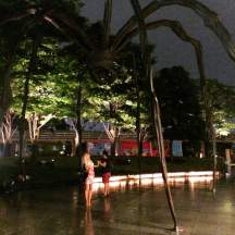 "Frightened by the giant spider ""Maman"" in Roppongi Hills"