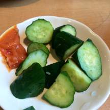 Lunch in Asakusa: cucumbers and miso