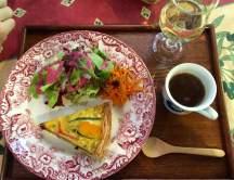 Veggie quiche, onion soup, white wine!