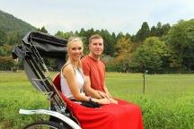 Enjoying a rickshaw ride through Arashiyama with my <3