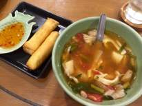 Spring rolls and tom yum soup. The soup was SO spicy I couldn't finish it!