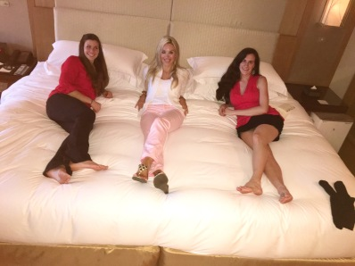 Enjoying the humongous bed!