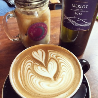 Peace Lattes and water in wine bottles