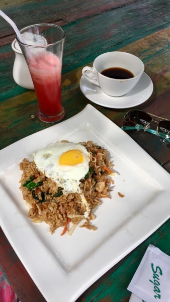 Nasi goreng. Ate this daily. Vegetarian and gluten-free (if you opt for rice over noodles.)