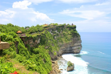 Uluwatu Temple is perched right on that cliff's edge... can you see it?