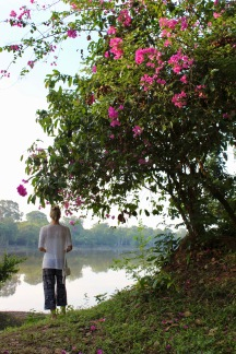 Exploring the grounds surrounding Angkor Wat