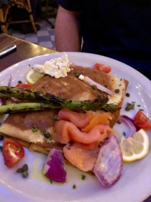 Salmon and veggies crepe - Dave's dish!